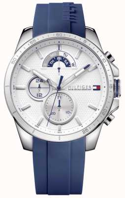 Tommy Hilfiger Mens Blue Rubber White Chronograph 1791349
