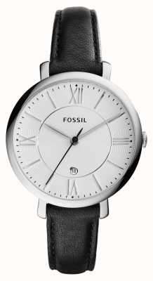 Fossil Womans Jacqueline Silver Dial Black Leather ES3972