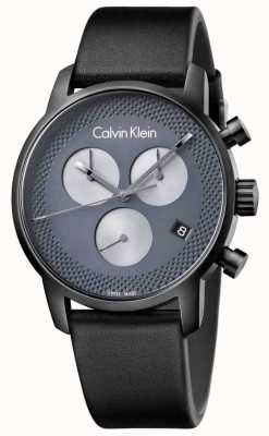 Calvin Klein Mens City Black Leather Grey Chrono K2G177C3