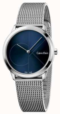 Calvin Klein Womans Minimal Stainless Steel Mesh Blue Dial K3M2212N