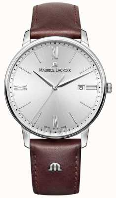 Maurice Lacroix Mens Eliros Brown Leather Strap Silver Dial EL1118-SS001-110-1