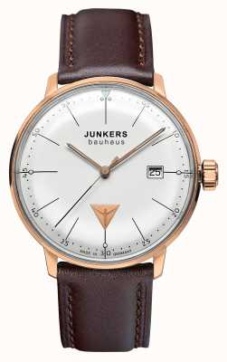 Junkers Mens Bauhaus Brown Leather Strap Silver Dial 6074-1