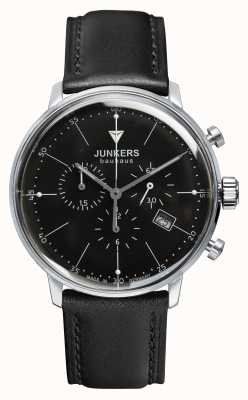 Junkers Mens Bauhaus Chronograph Black Leather Strap Black Dial 6088-2