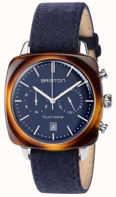 Briston Mens Clubmaster Vintage Blue Fabric Strap Blue Dial 17140.SA.TV.15.LFNB