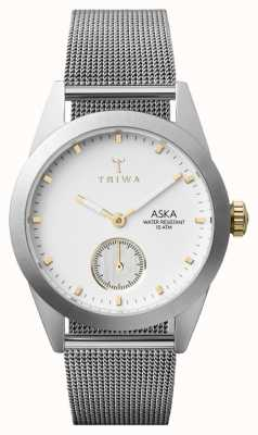 Triwa Mens Snow Aska Silver Mesh Super-Slim AKST102-MS121212