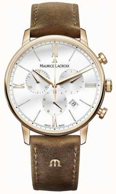 Maurice Lacroix Mens Eliros Chronograph Brown Calf Leather Strap EL1098-PVP01-113-1