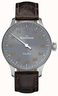 MeisterSinger Mens Circularis Hand Wound Sunburst Medium Grey CC327G