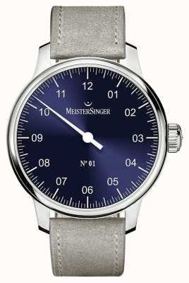 MeisterSinger Mens Classic No. 1 Hand Wound Sellita Sunburst Blue AM3308