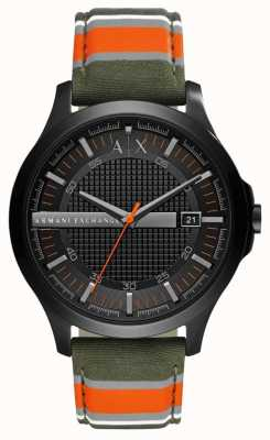 Armani Exchange Mens Dress Watch Green Orange Stripe Strap AX2198