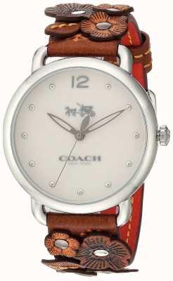 Coach Womans Delancey Watch Brown Flower Leather Strap 14502744