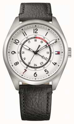 Tommy Hilfiger Mens Dylan Stainless Steel Black Leather Strap 1791373