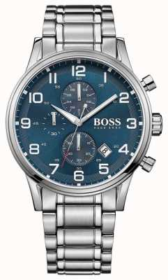 Hugo Boss Mens Aeroliner Chronograph Stainless Steel Blue Dial 1513183