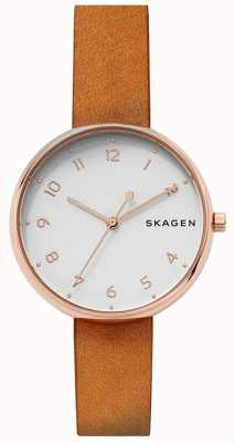 Skagen Womans Signatur Tan Leather Strap Rose Gold SKW2624