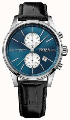 Hugo Boss Mens Jet Chronograph Black Leather Strap Blue Dial 1513283