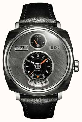 REC P51-01 Mustang Automatic Black Leather Strap P51-01