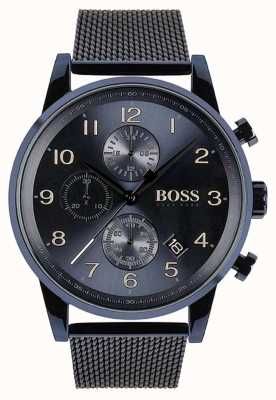 Hugo Boss Mens Navigator Blue Chronograph Mesh Metal Watch 1513538