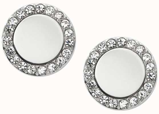 Fossil Womens Silver Tone Stone Set Stud Earrings JF01791040