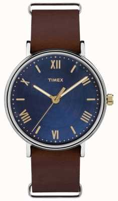 Timex Mens Southview 41mm Blue Dial Brown Strap TW2R28700