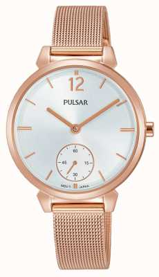 Pulsar Womans Rose Gold Plated Mesh Steel Bracelet Silver Dial PN4054X1