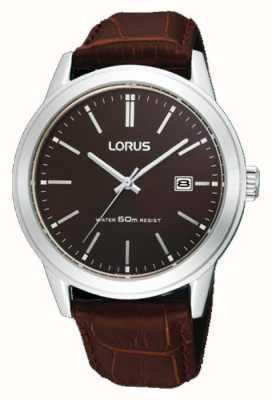 Lorus Mens Brown Leather Strap watch 38m RH925BX9