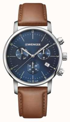 Wenger mens Urban Classic Chrono Brown Leather 01.1743.104