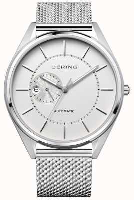 Bering Mens Automatic Milanese Silver Steel Bracelet 16243-000