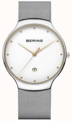 Bering Mens Classic Date Silver Milanese Strap 13338-001