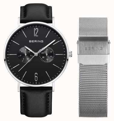 Bering Mens Multifunction With Silver Milanese And Leather Strap 14240-402