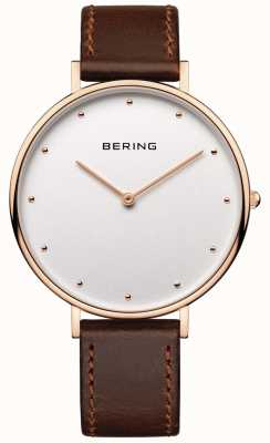 Bering Womans Classic Brown Leather Strap Watch 14839-564
