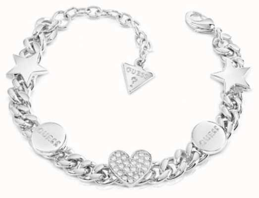 Guess Love Chain Silver Crystal Bracelet UBB84075-L