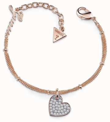 Guess My Sweetie Heart Charm Bracelet Rose Gold UBB84079-L