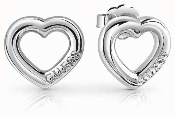 Guess Grace Bold Heart Charm Studs Rhodium UBE84021