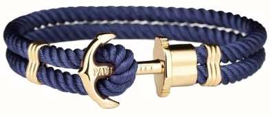 Paul Hewitt Phrep Gold Anchor Navy Nylon Bracelet Large PH-PH-N-G-N-L