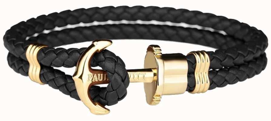 Paul Hewitt Phrep Gold Anchor Black Leather Bracelet Large PH-PH-L-G-B-L