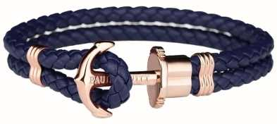 Paul Hewitt Jewellery Phrep Rose Gold Anchor Navy Leather Bracelet XX Large PH-PH-L-R-N-XXL