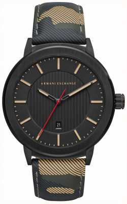 Armani Exchange Mens Camo Strap Black Dial Watch AX1460