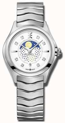 EBEL Womens Wave Diamond Set Moonphase Stainless Steel Watch 1216372