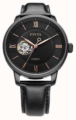 FIYTA Mens Photographer Black Leather Auto Watch GA860013.BBB