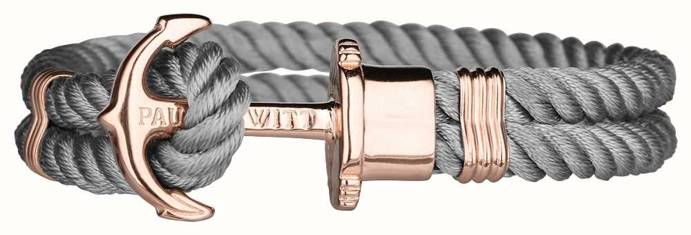 Paul Hewitt Jewellery Phrep Rose Gold Anchor Grey Nylon Bracelet Large PH-PH-N-R-GR-L