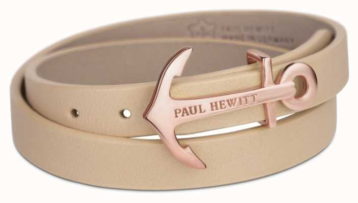Paul Hewitt Jewellery Northbound Rose Gold Anchor Hazlenut Leather Bracelet Small PH-WB-R-22S