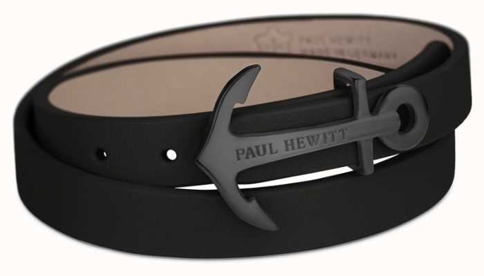 Paul Hewitt Jewellery Northbound Black Anchor Black Leather Bracelet Large PH-WB-B-2M
