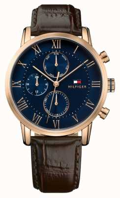 Tommy Hilfiger KANE CHRONOGRAPH blue dial brown leather strap 1791399