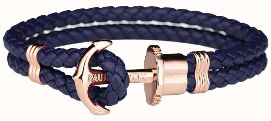 Paul Hewitt Phrep Rose Gold Anchor Navy Leather Bracelet Medium PH-PH-L-R-N-M
