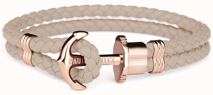 Paul Hewitt Jewellery Phrep Rose Gold Anchor Hazlenut Leather Bracelet Medium PH-PH-L-R-H-M
