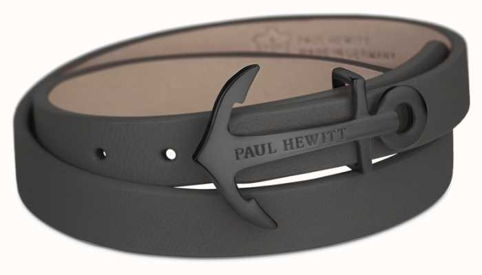 Paul Hewitt Northbound Black Anchor Black Leather Bracelet Medium PH-WB-B-13M