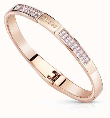 Guess PVD Rose Gold Plated G Colours Crystal Bangle UBB84086-S