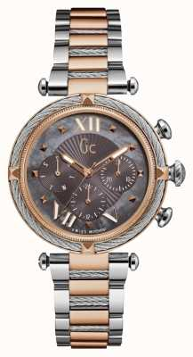 Gc Womans Cablechic Sport 2 Time Rose Gold And Silver Tone Y16015L5