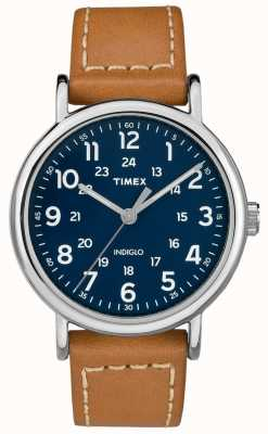 Timex Mens Weekender Tan Leather Strap Blue Dial TW2R42500D7PF