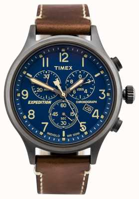 Timex Expedition Scout Chronograph Brown Strap Blue Dial TW4B09000D