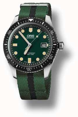Oris Mens DIVERS SIXTY-FIVE Green Nato Strap 01 733 7720 4057-07 5 21 25FC